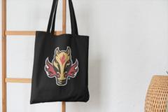 Сумка-шоппер с принтом НХЛ Калгари Флэймз (NHL Calgary Flames) черная 001