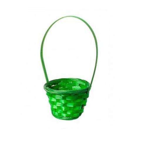 Корзина плетеная (бамбук), D13х9хH30см, зеленый