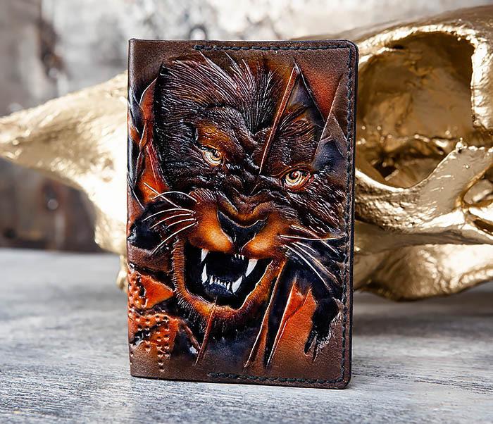 BC176 Крутая обложка на паспорт со львом фото 03