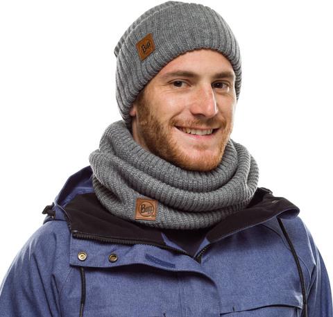 Комплект вязаный шапка-шарф Buff Knitted Polar Rutger Melange Grey фото 1