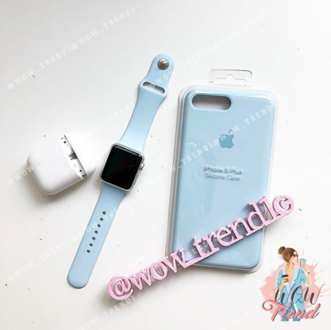 Чехол iPhone 7+/8+ Silicone Case /sky blue/ светло-голубой original quality