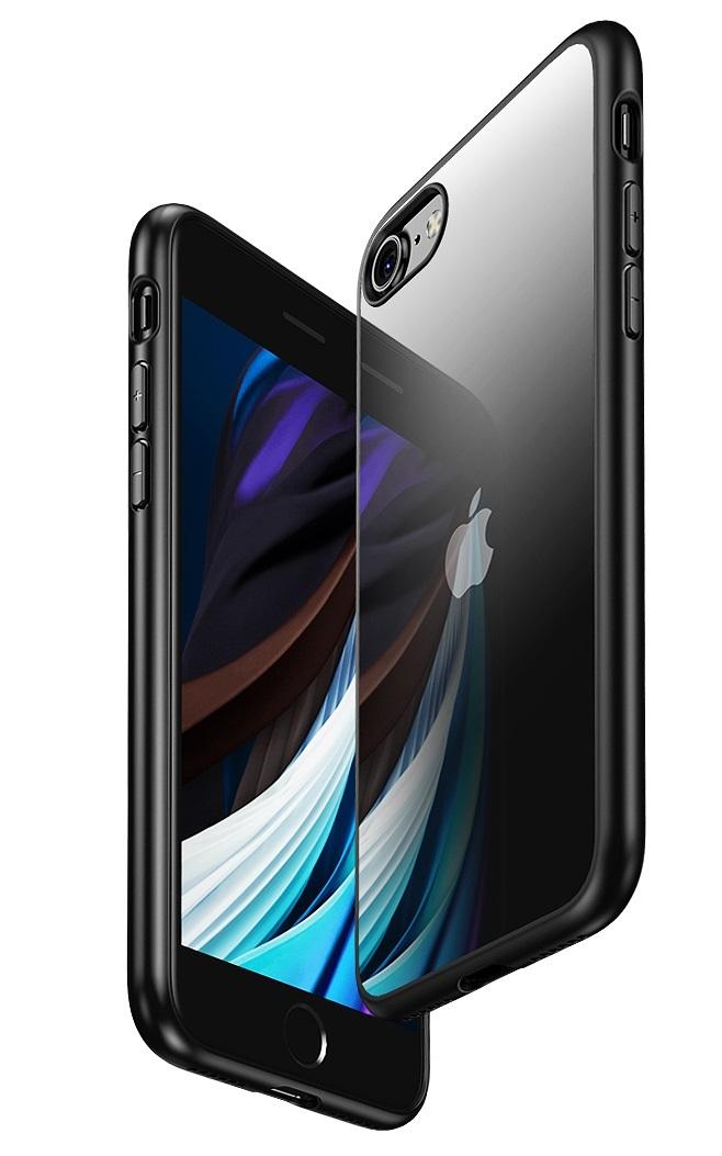 Чехол на iPhone SE (2020), 7 и 8 с прозрачной стенкой и черными рамками, серии Ultra Hybrid от Caseport