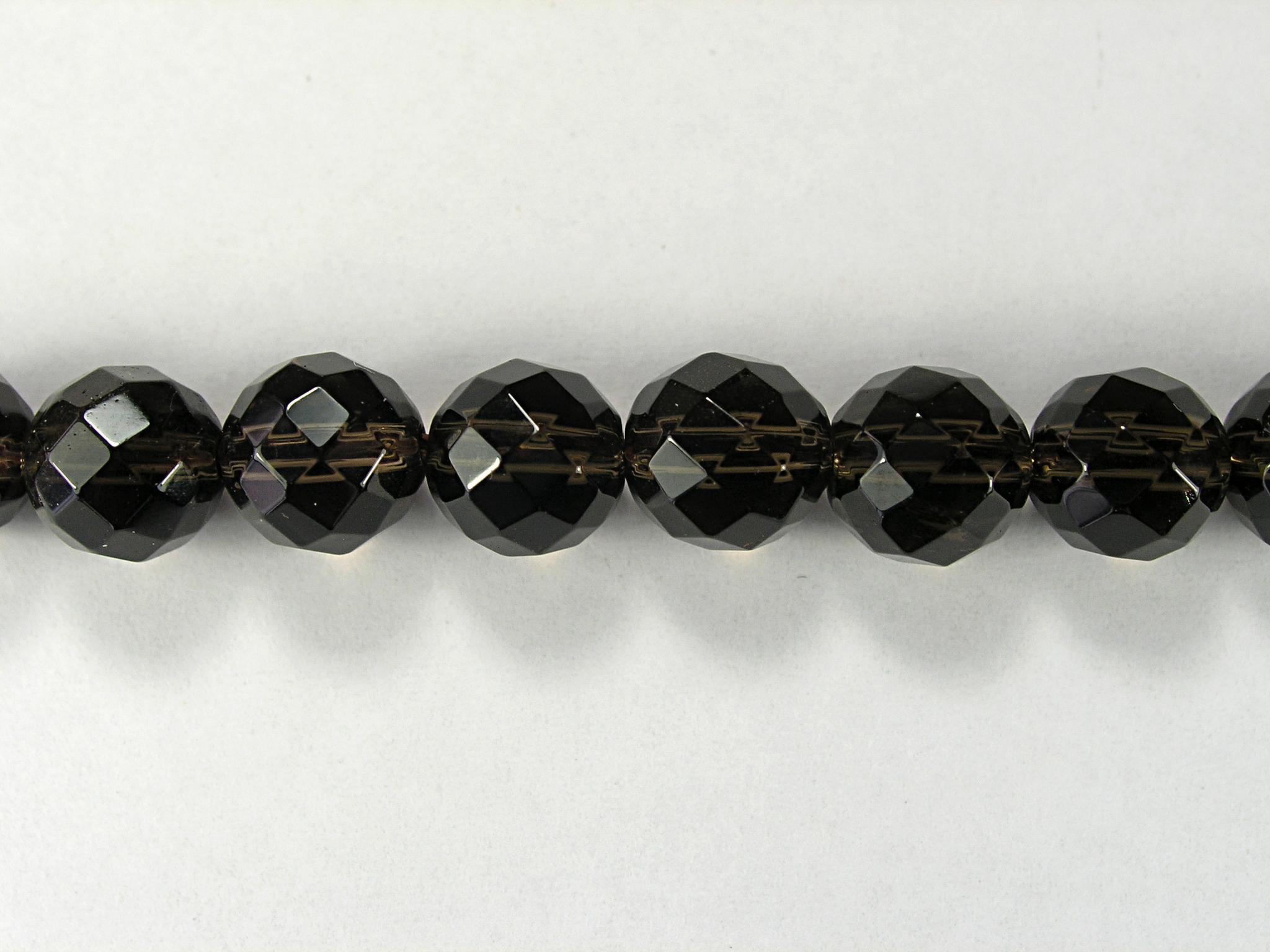 Бусина из кварца дымчатого, фигурная, 8 мм (шар, граненая)