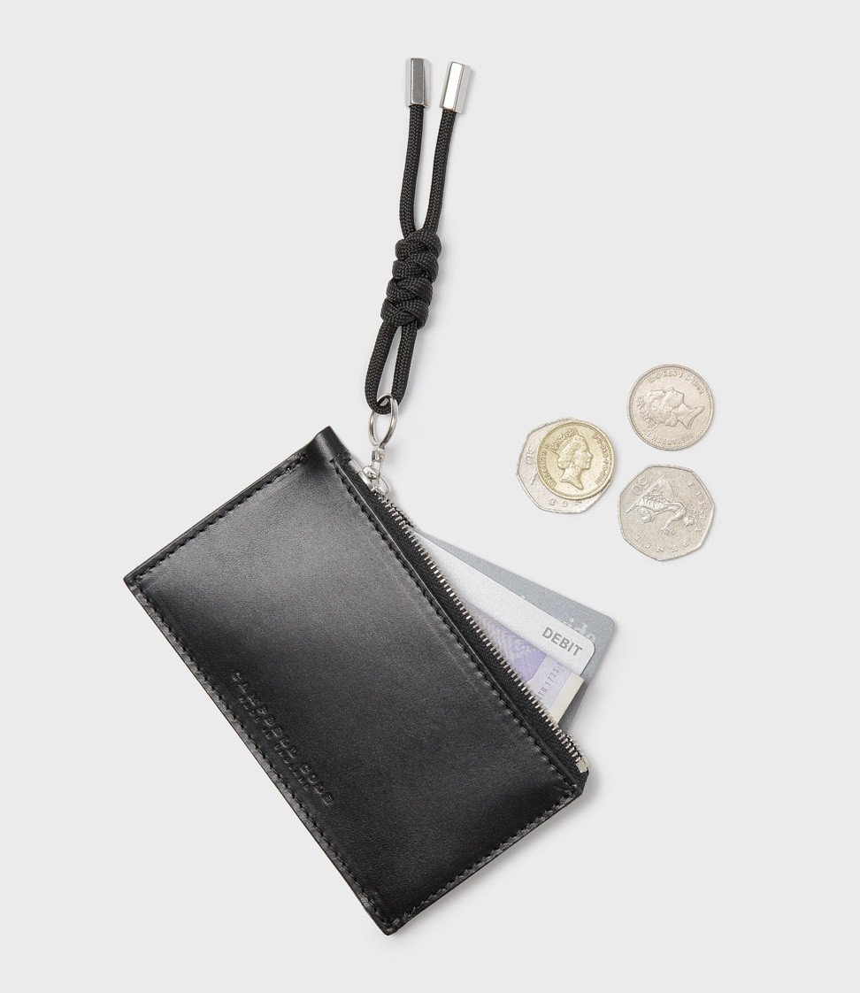 Campbell Cole Simple Coin Pouch with Puller Black