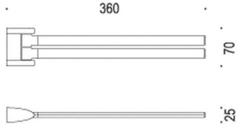 Полотенцедержатель двойной 36см. Colombo Link  B2413, хром схема