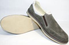 Мужские мокасины из кожи IKOC 3394-3 Gray.