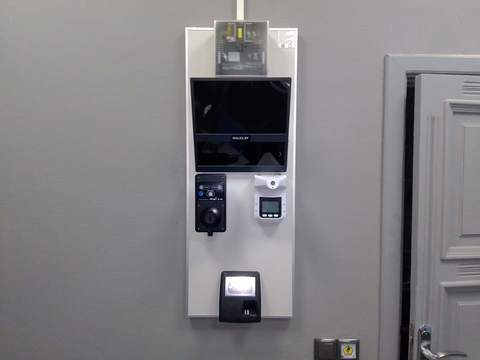 Система потокового алкотестирования Скуд-Алко биометрический терминал PERCo CR11-пирометр.