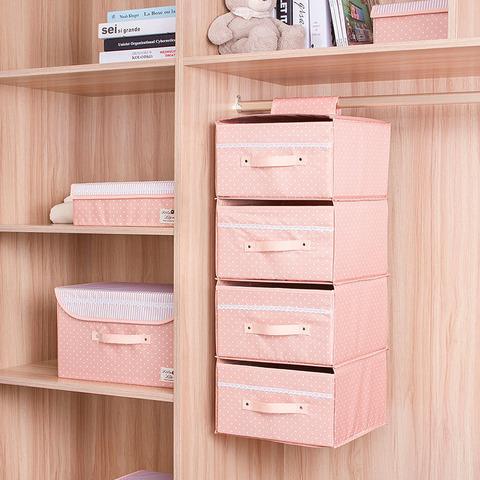 Подвесной кофр для вещей, 4 отделения, 30*30*80 см (розовый в горошек)