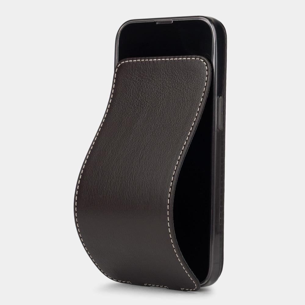 Чехол для iPhone 13 Pro из натуральной кожи теленка, темно-коричневого цвета