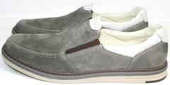 Мужские красивые модные туфли мокасины IKOC 3394-3 Gray.