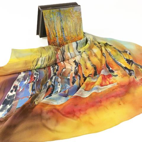 Шкатулка расписная и шелковый платок Березовая роща