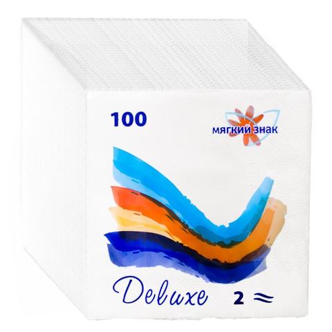 Салфетки бумажные Мягкий знак белые, 2 слоя, 24х24, 100 листов/уп.