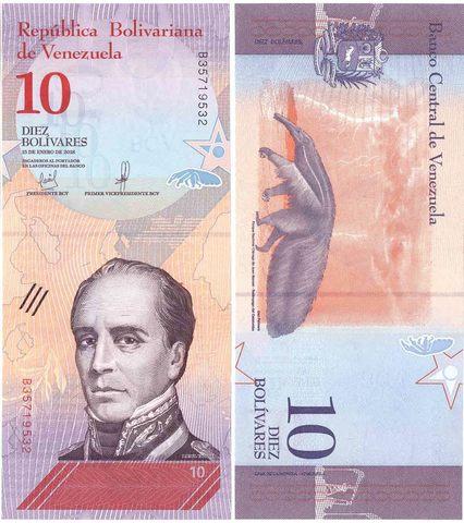 Банкнота 10 боливаров 2018 год, Венесуэла. UNC