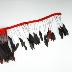 Тесьма  из перьев петуха на ножке h-15-20 см (УЦЕНКА) ,красный