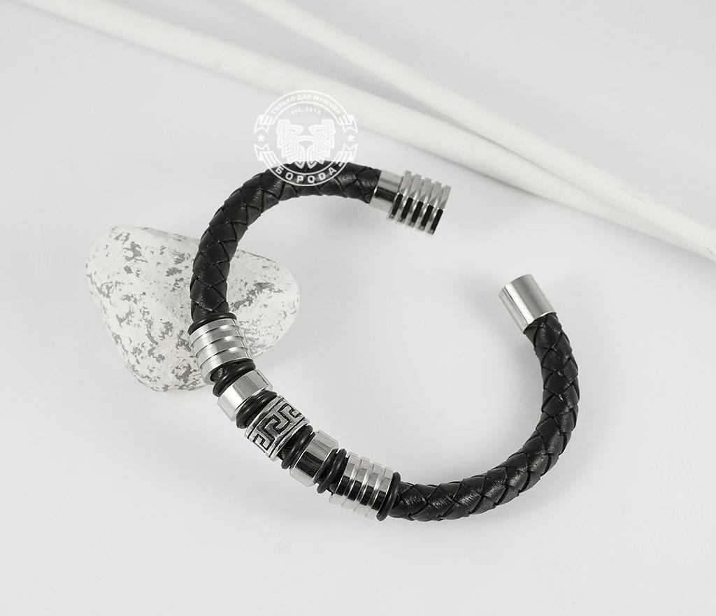 BM361 Массивный мужской браслет из кожаного шнура и стали (19 см)