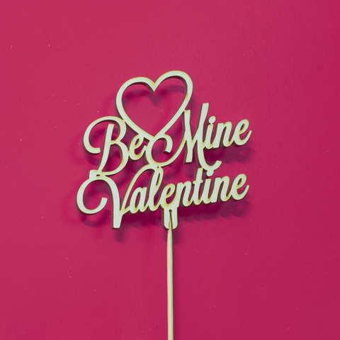 Топпер ДекорКоми из дерева, надпись на палочке Be Mine Valentine