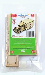 Конструктор 3D деревянный подвижный Lemmo Грузовичок Медицинский