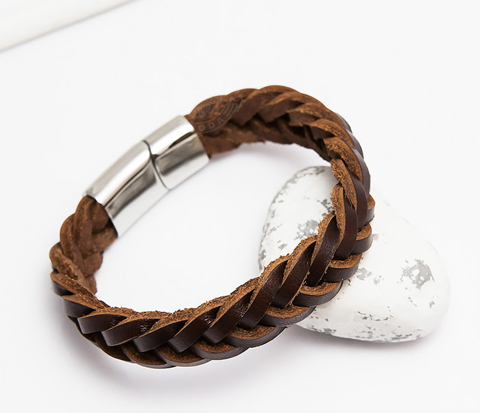 BM451-2 Мужской браслет из натуральной кожи коричневого цвета (19 см)