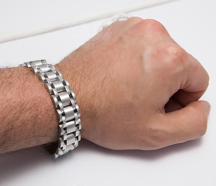 BM479 Широкий браслет из ювелирной стали (21 см) фото 07