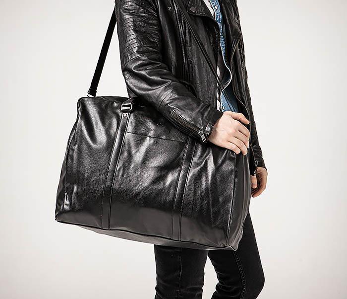 BAG521-1 Кожаная дорожная сумка с ручками и ремнем