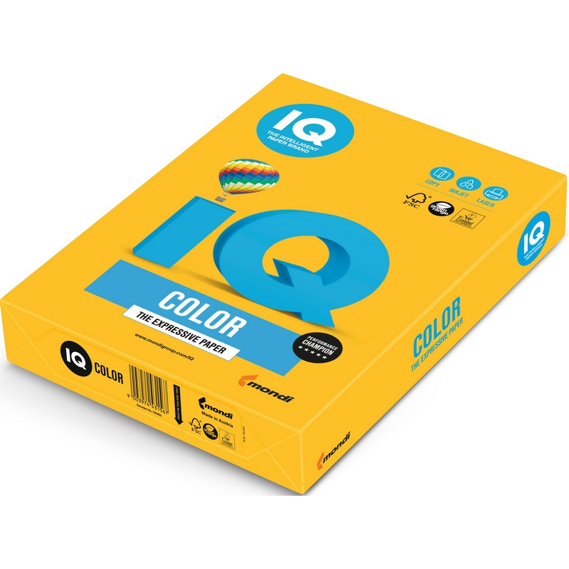 Бумага цветная для офисной техники IQ Color солнечно-желтая SY40 (А4, 80 г/кв.м, 500 листов)