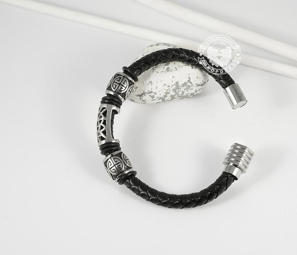 BM362 Красивый мужской браслет из кожи и стали, магнитная застежка (19 см)