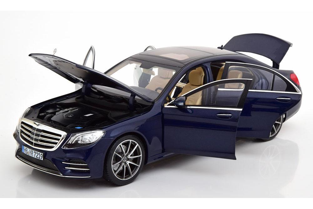 Коллекционная модель Mercedes-Benz W222 S-CLASS AMG-LINE 2019 DARK BLUE METALLIC