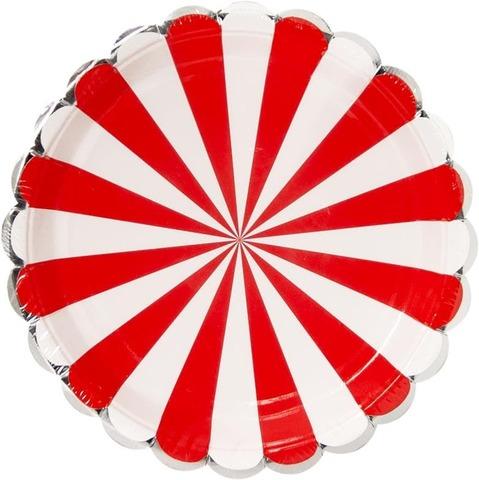 Тарелки (9''/23 см) Серебряная кайма, Красный/Белый, 6 шт.