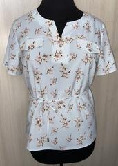 Джемма. Блуза великих розмірів з пояском, короткий рукав. М'ята квіти