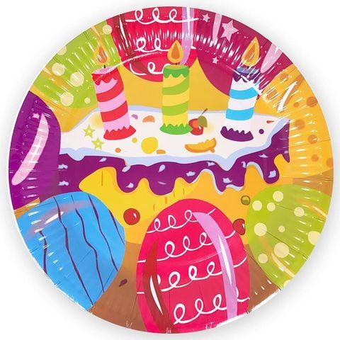 Тарелки (9''/23 см) Торт и Свечи, 6 шт.
