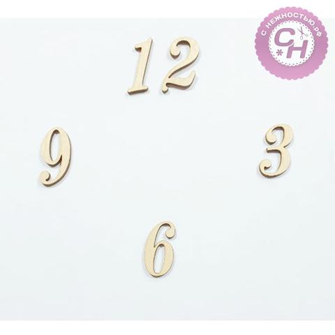 Цифры для часов, 3 мм, деревянные, высота 3 см (микс), набор 3-6-9-12.