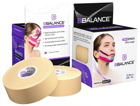 Набор кинезио тейпов для лица BB FACE TAPE™ 2,5 см × 10 м бежевый