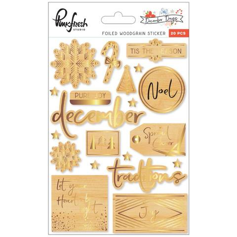 Чипборд December Days Foiled Stickers -Woodgrain-20шт: