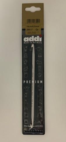 Крючок вязальный из алюминия для кругового тунисского вязания №5, 15 см Addi Германия арт.265-7/5-15