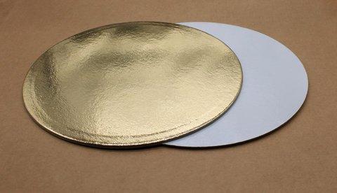 Подложка для торта 22см, толщ. 3.2мм, золотая/белая, круглая