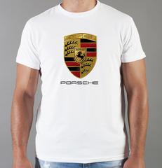 Футболка с принтом Порше (Porsche) белая 001
