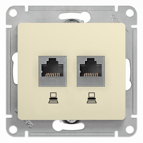 Розетка компьютерная двойная RJ45+RJ45, категория 5Е. Цвет Бежевый. Schneider Electric Glossa. GSL000285KK
