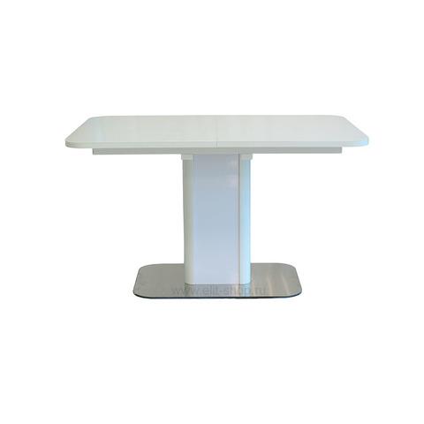 Стол РИЕЛЬ Белый / подстолье белое / колонна №20 белая+нерж. / 130(175)х85см