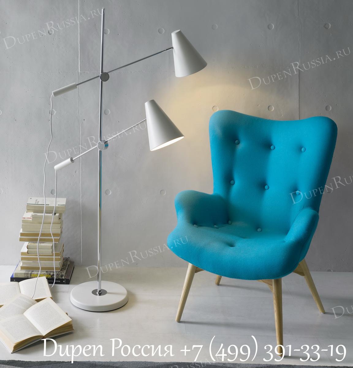 Торшер LF-13030WH White и Кресло DUPEN 917 Голубое