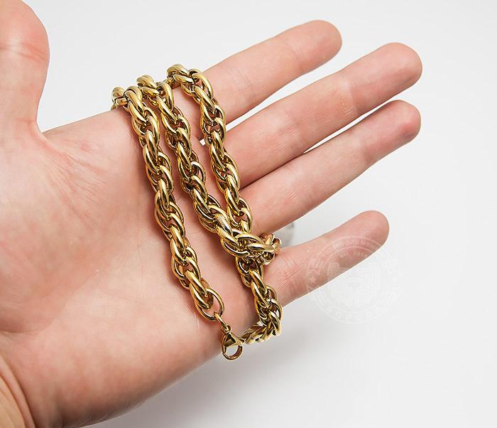 PM247-2 Оригинальная мужская цепь из стали золотистого цвета (55 см) фото 04