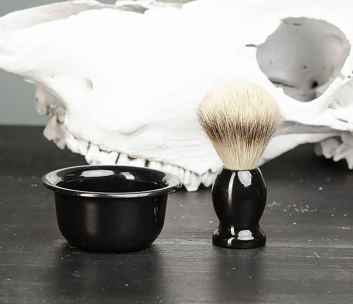 RAZ433 Деревянный помазок для бритья и чаша