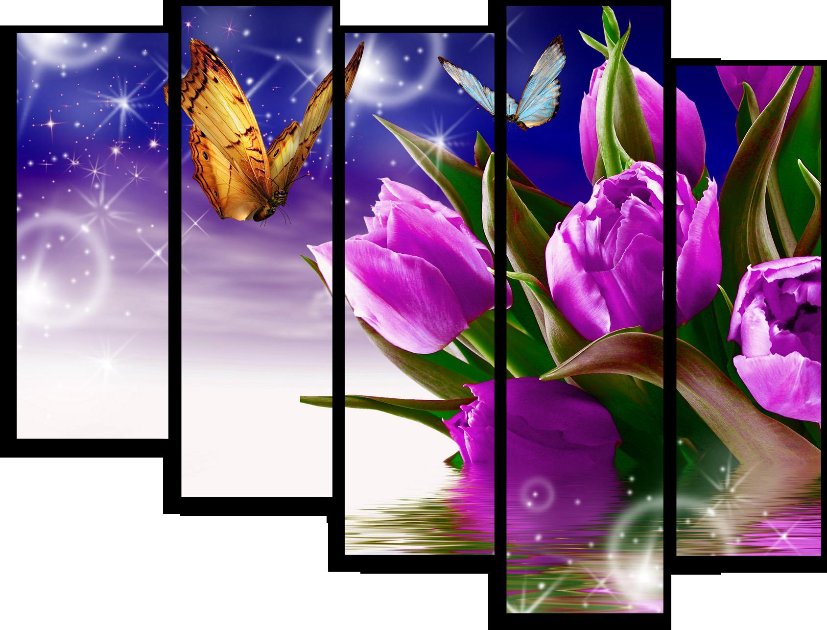 """Модульные картины Модульная картина """"Фиолетовые тюльпаны"""" М64.png"""