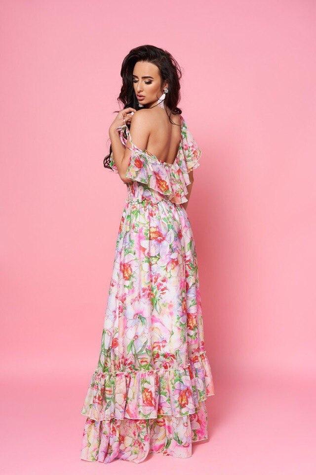 Длинное шифоновое платье с воланами, с принтом
