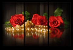 """Модульная картина """"Шикарные красные розы"""""""