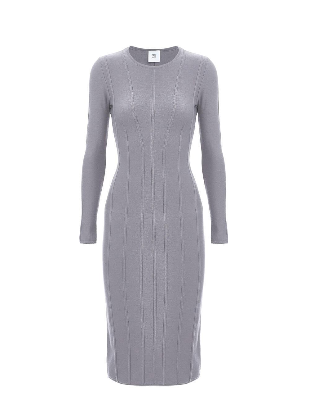 Женское платье серого цвета из шерсти - фото 1