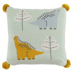 Подушка декоративная с помпонами 35х35 Tkano Tiny world Динозавр Toto TK20-KIDS-CU0005