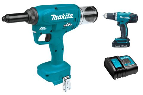 Аккумуляторный заклёпочник Makita DRV150Z + DDF453SYX5