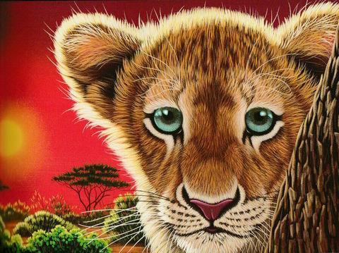 Картина раскраска по номерам 40x50 Львенок