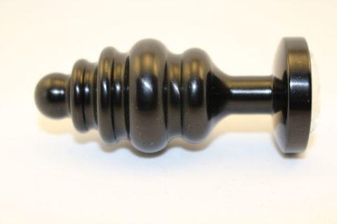 Черная фигурная анальная пробка с прозрачным кристаллом - 7,3 см.