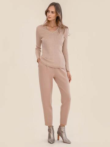 Женские брюки бежевого цвета из 100% шерсти - фото 2